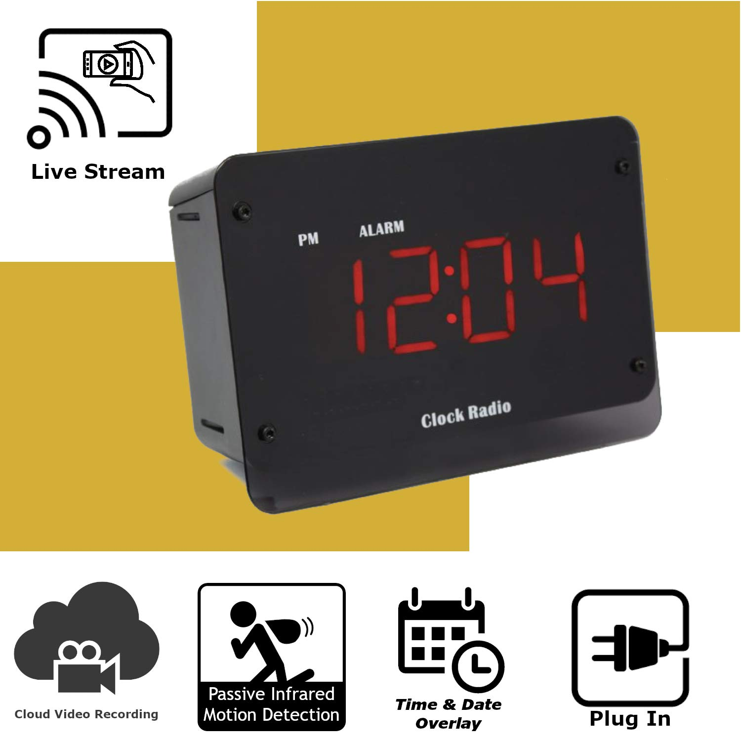 Discover IT | Wi-Fi Hidden Camera Spy Cam Home Surveillance Nanny Cam Night Vision Clock Radio with Cloud Video Recording by Discover It