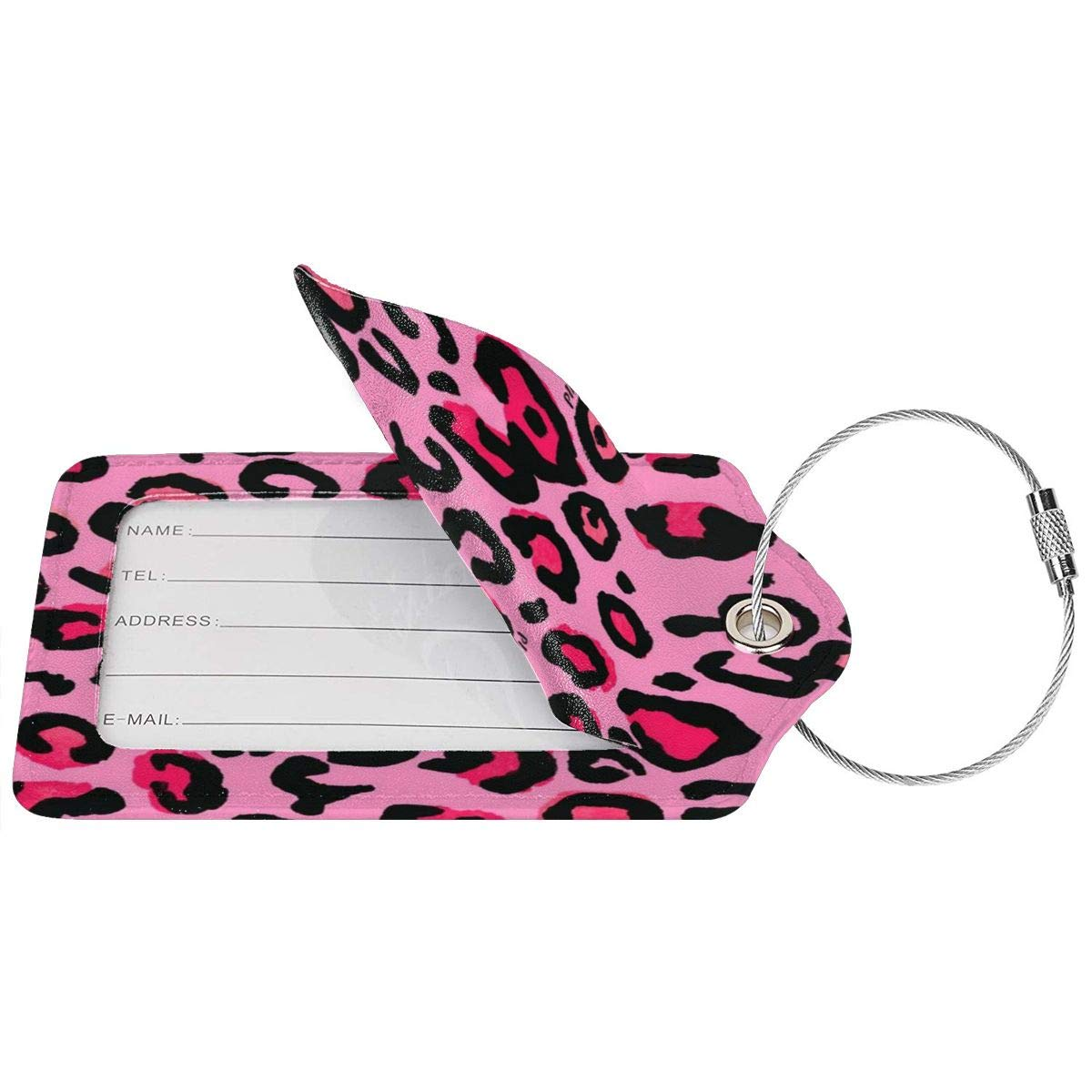 Cheetah Lignt Pink Leopard 2.7 x 4.6 Blank Tag Key Tags for Cruise Ships Honeymoon Gift Leather Luggage Tags Full Privacy Cover and Stainless Steel Loop 1 2 4 Pcs Set
