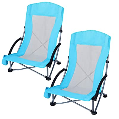 Nice C Beach Chair, Lightweight Camping Outdoor Chair with High Mesh Back, Heavy Duty Portable Chair with Carry Bag for Camping, BBQ, Travel, Festival, Picnic(Set of 2 Blue) : Sports & Outdoors