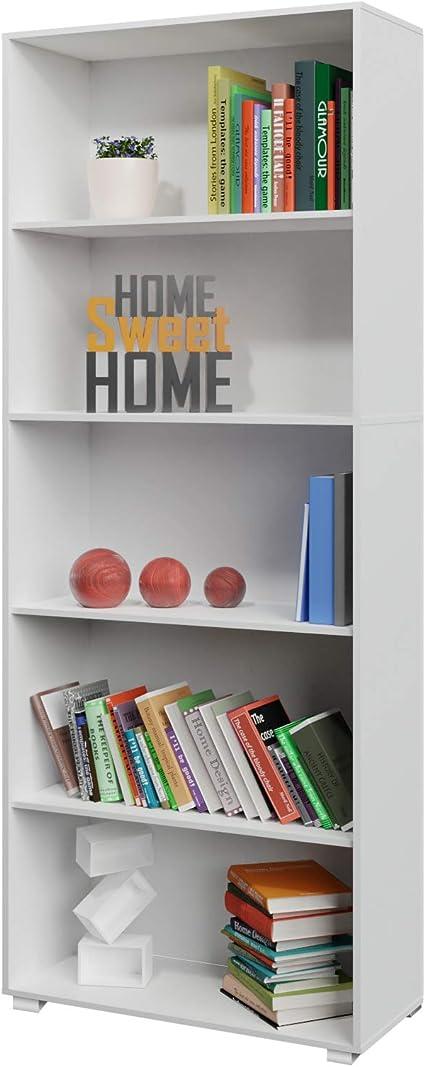 Deuba Estantería libreria Biblioteca Vela Blanco de 5 estantes 190 cm Mueble de almacenaje Oficina Dormitorio salón