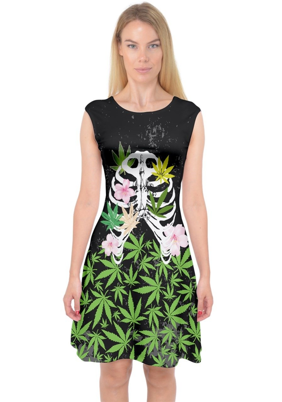 PattyCandy Womens Cool Cannabis Marijuana Fashion Capsleeve Midi Dress, XS-3XL