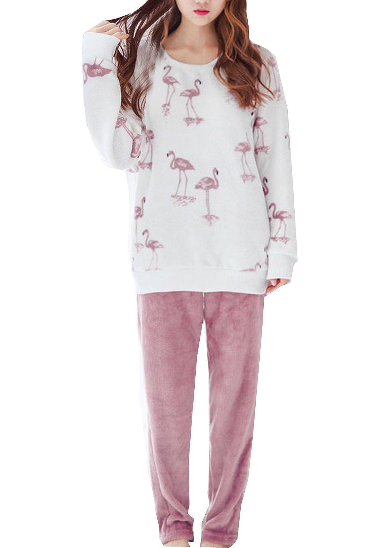 bbb8828c6 Amazon.com  Big Girls Winter Flannel Pajamas Sets Cute Flamingo Long ...