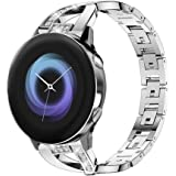 YOFUNTLE Compatible for Samsung Galaxy Watch Active 2/Active Bands,Women 20mm Metal Jewelry Bracelet Strap Replacement Wristb