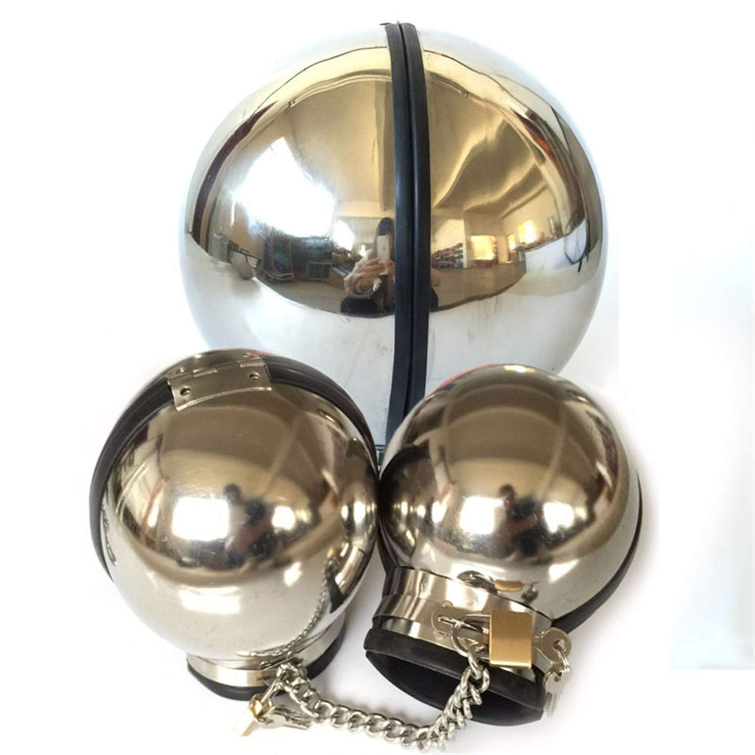 C-Atheter Sound Adult Game Metal Ball Stainless Steel Bondage-Set Hand Dersimio Collar Restraints Cuff Neck Sěx-Toys For Couples Handcuffs