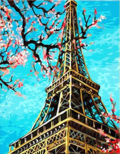 Peaches Framed Canvas - Wowdecor Paint by Numbers Kits for Adults Kids, DIY Number Painting - Paris Eiffel Tower & Spring Peach Flowers 40 x 50 cm - New Stamped Canvas (Framed)