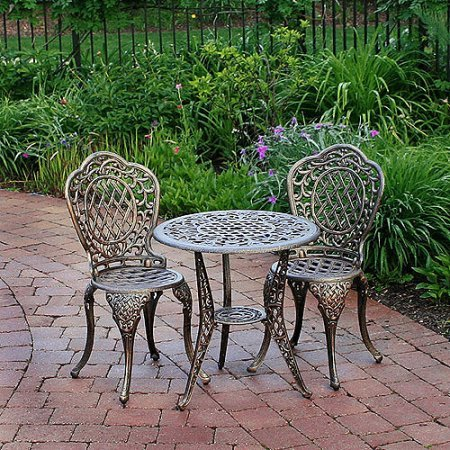 Oakland Living Mississippi Cast Aluminum 3-Piece Glass Top Bistro Set with 25-Inch Table