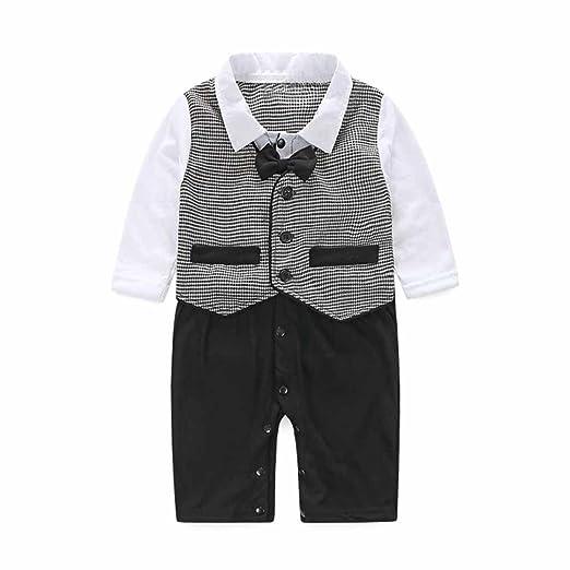 5e80b4308 Toraway Baby Boy Formal Party Christening Wedding Tuxedo Waistcoat Bow Tie  Romper Jumpsuit Suit (6