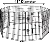 Ultimate Folding Dog Animal Pet Playpen Wire Metal 8 Panel Octagon Black Wire Enclosure Fence Exercise Popup Kennel Crate Tent Portable Gate Cage(XX-Large 48″)