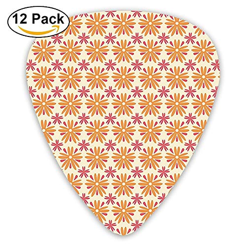 - Autumn Season Toned Blooms With Daisies Poppy Flowers Unusual Mixed Pattern Guitar Picks 12/Pack