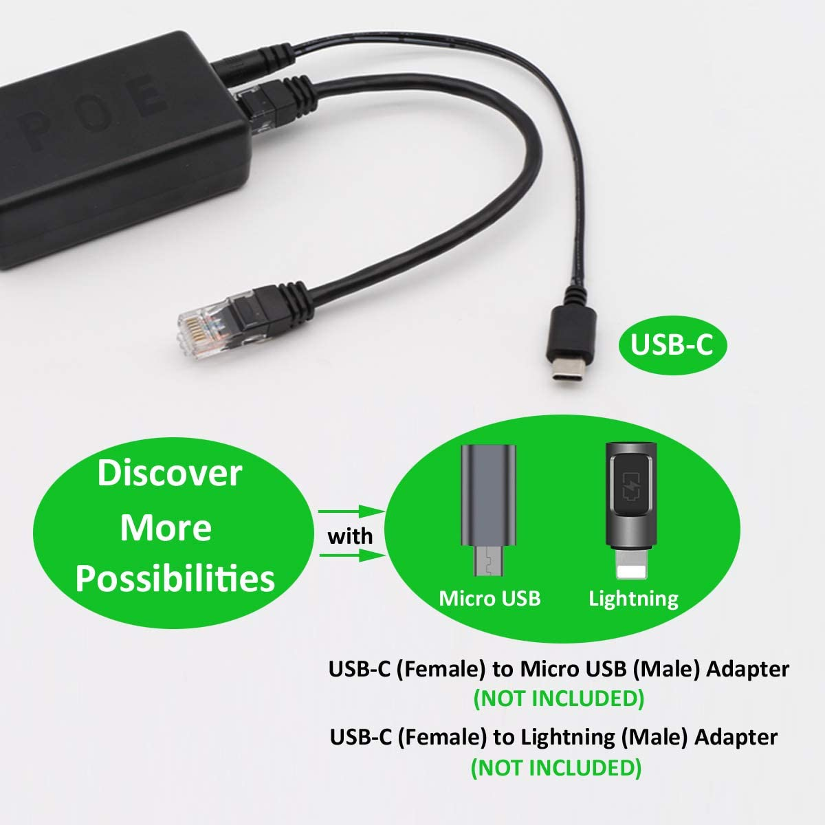 AP-POE-USBC PoE to USB Type-C 5V//4A Max Power 10//100//1000Mbps Ethernet Data Adapter for Raspberry Pi 4 and More AuviPal USB-C Gigabit PoE Splitter 802.3af//at Compliant |