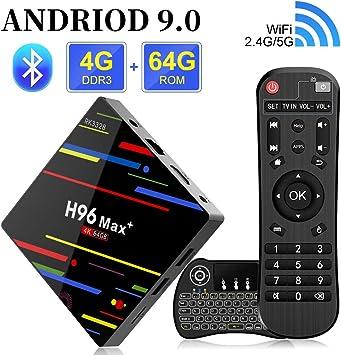 Android 8.1 TV Box H96 MAX+ Smart Box 4 GB de RAM y 64 GB de ROM, Soporte 4K Ultra HD/2.4G WiFi/Vídeo codificador H.265/Bluetooth con Mini Teclado inalámbrico retroiluminado: Amazon.es: Electrónica