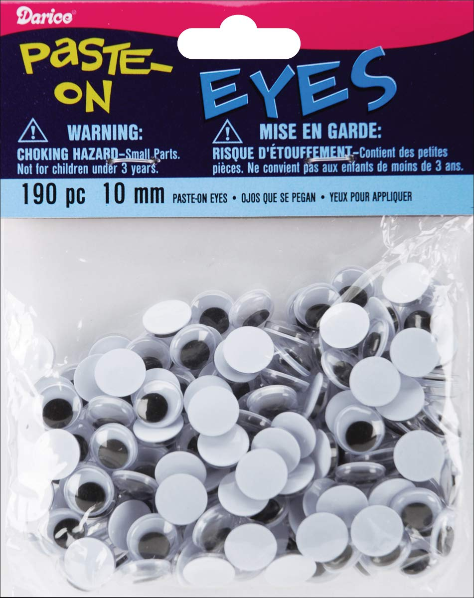 Wiggle Eyes 10 mm Black 190 Pieces (12 Pack) by Generic (Image #1)