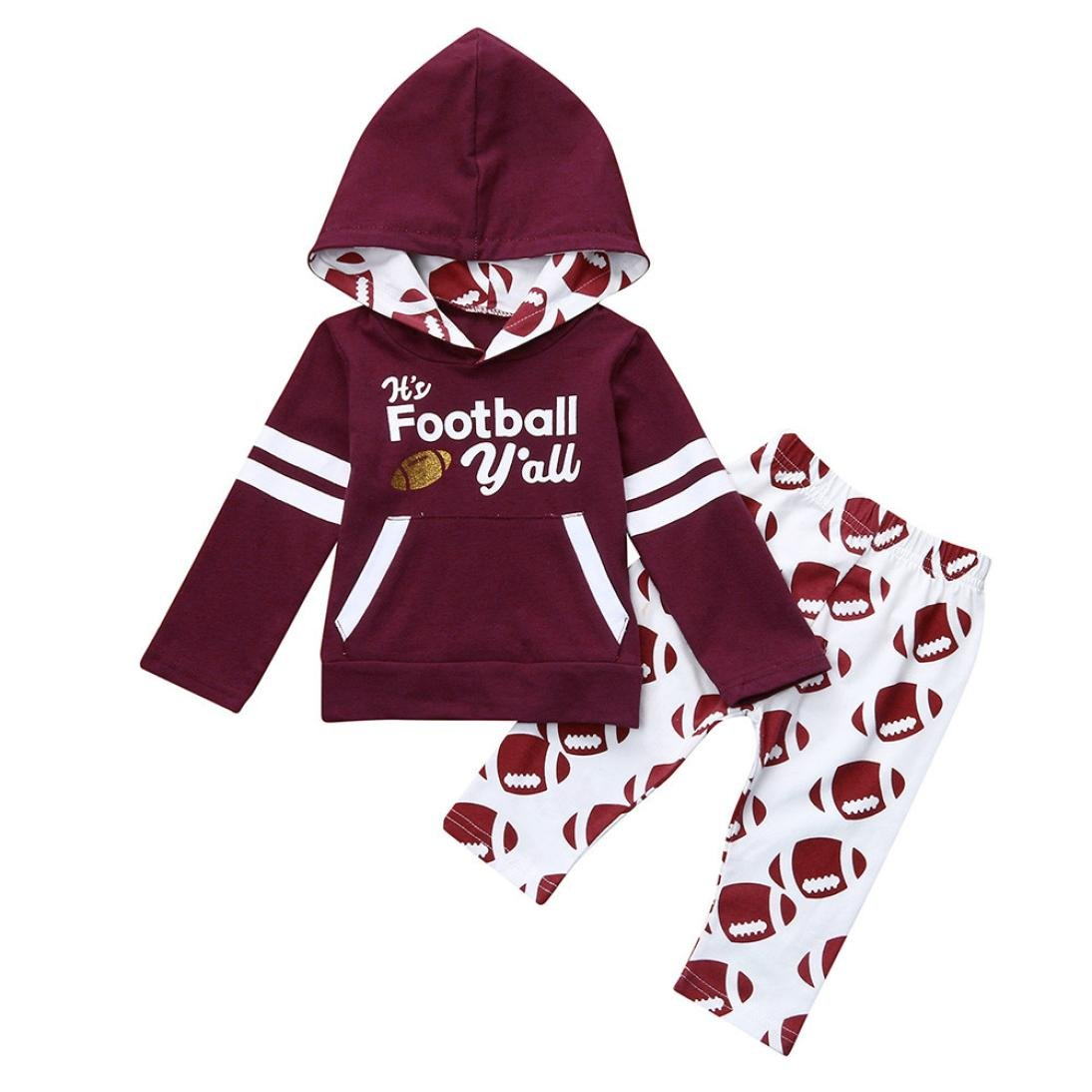 Staron Toddle Kids Baby Football Outfits Unisex Tops+Pant Hoodie Infant Clothes Set