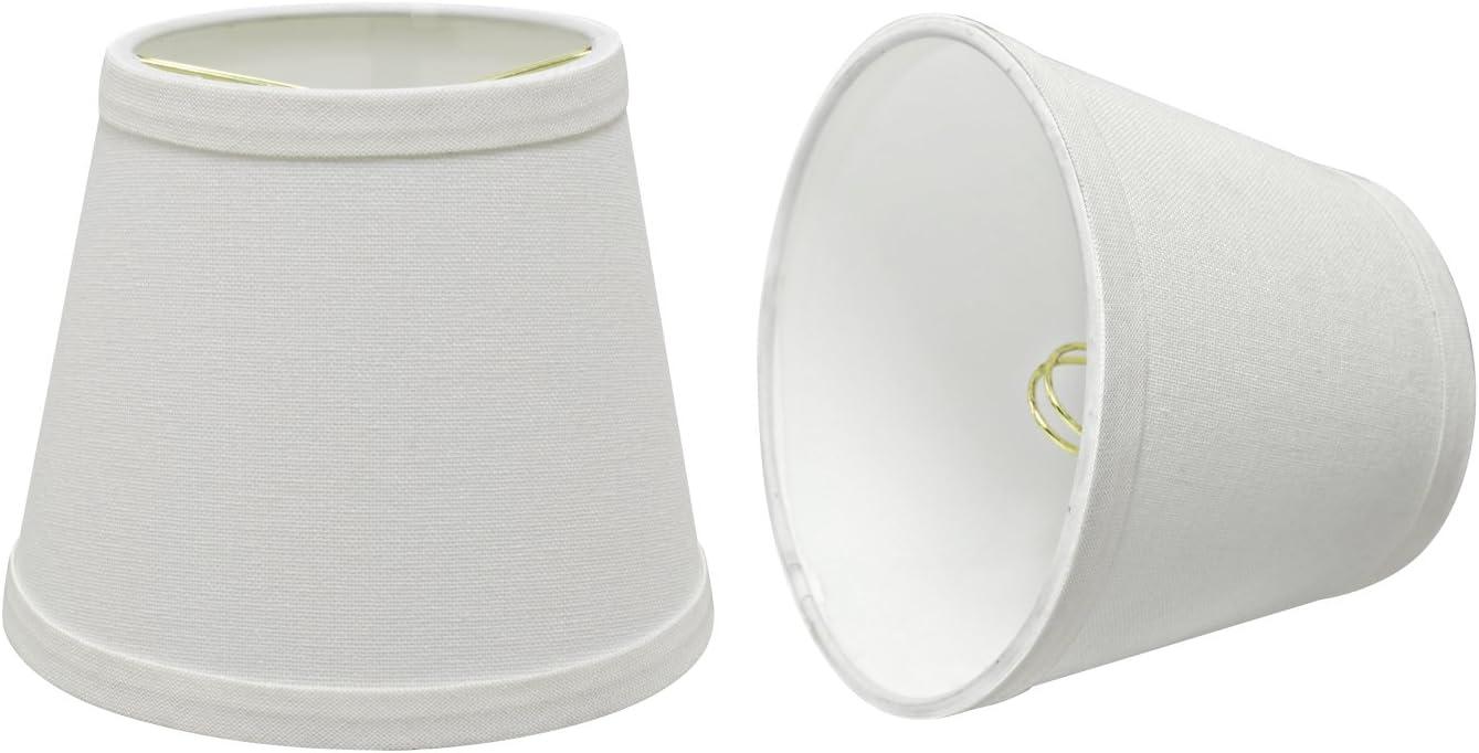 "Aspen Creative 32862-2 Small Hardback Empire Shape Chandelier Clip-On Lamp Shade Set (2 Pack), Transitional Design in White, 5"" bottom width (4"" x 6"" x 5"")"