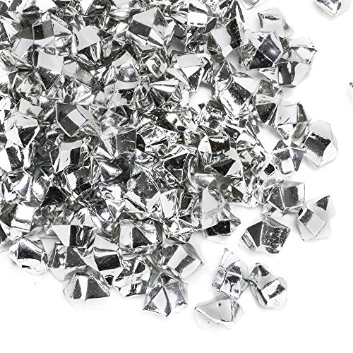 CYS EXCEL Acrylic Ice Rocks for Vase Fillers, Acrylic Gems for Table Scatters, Event, Wedding, Birthday Decoration (Acrylic Ice Silver, 1 Pound)]()
