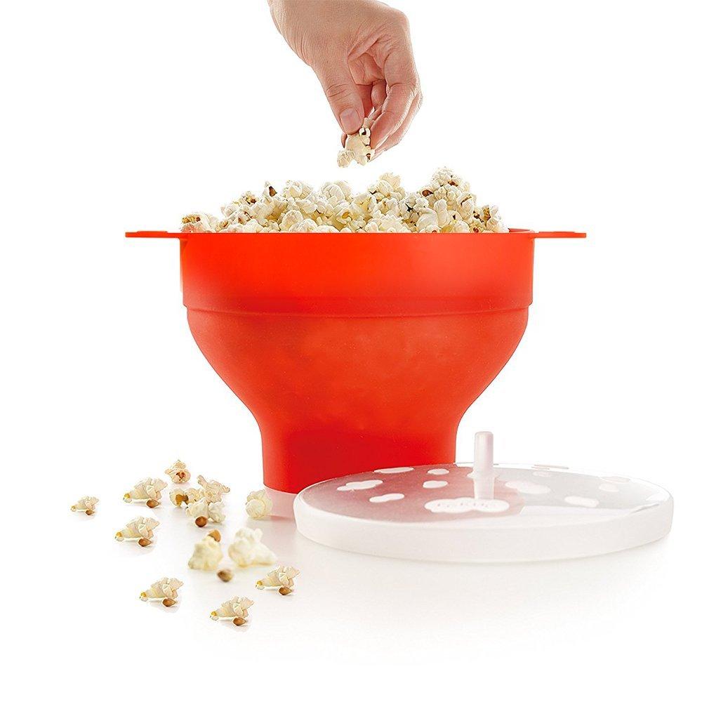 Allescool Popcorn Ciotola del microonde in silicon pieghevole con per Pop coperchio cucina Nessuna maniglia