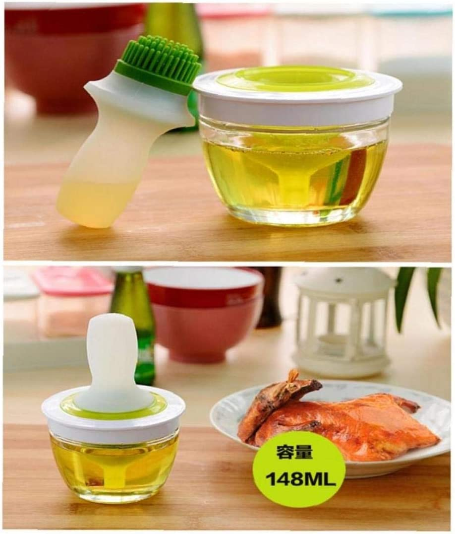 Hotaden Silicone Oil Bottle with Brush Glass Bowl Container,Honey Wine Sauce Baster and Pastry Brush for Kitchen Cooking Baking