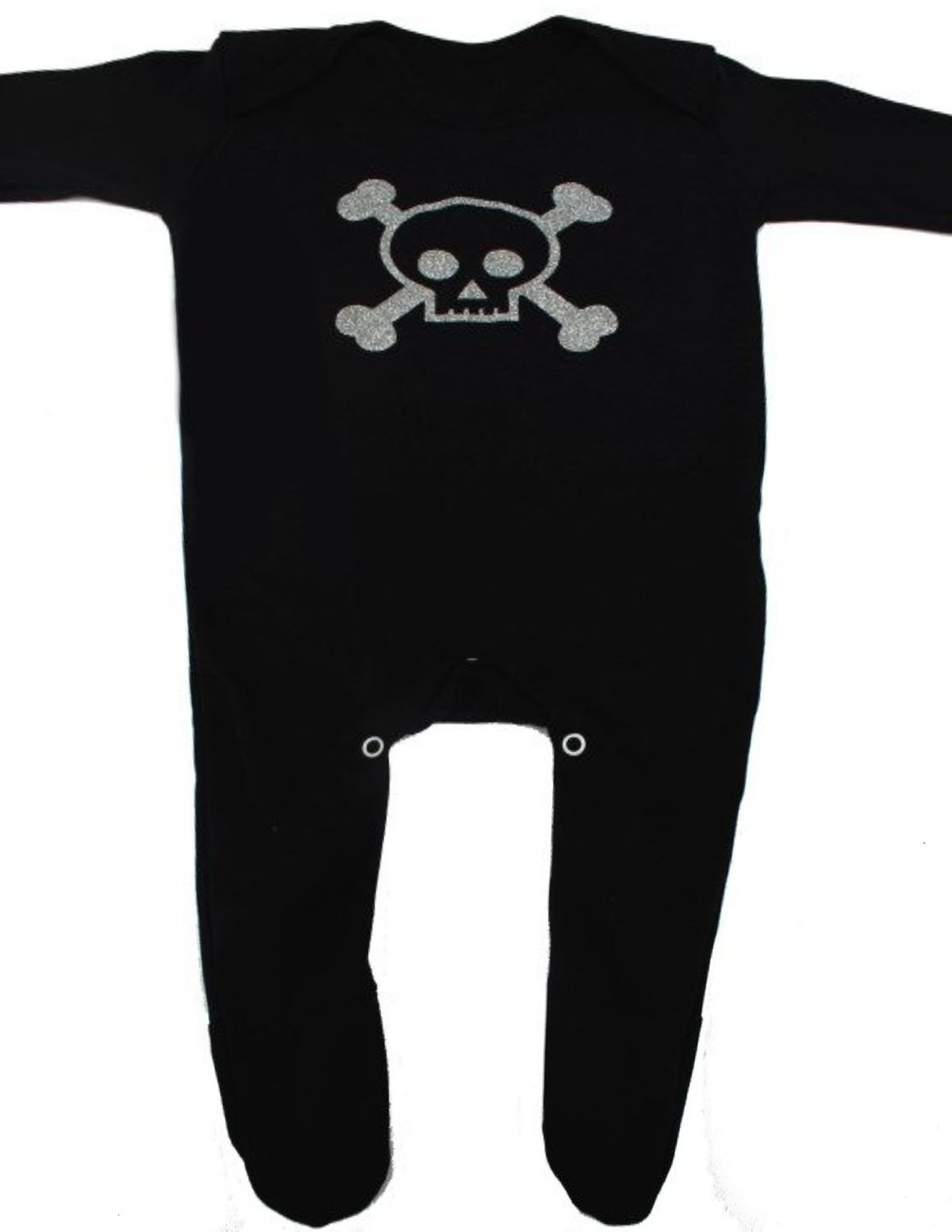Skull Baby Sleepsuit for Boys or Girls | New Cool Skull & Crossbones Pirate Romper Outfit - Ideal Baby Shower, Goth Baby Clothes, or 1st Halloween Gift | BABY MOO'S UK (3-6 months) BabyMoos.com GL-S&B/SS