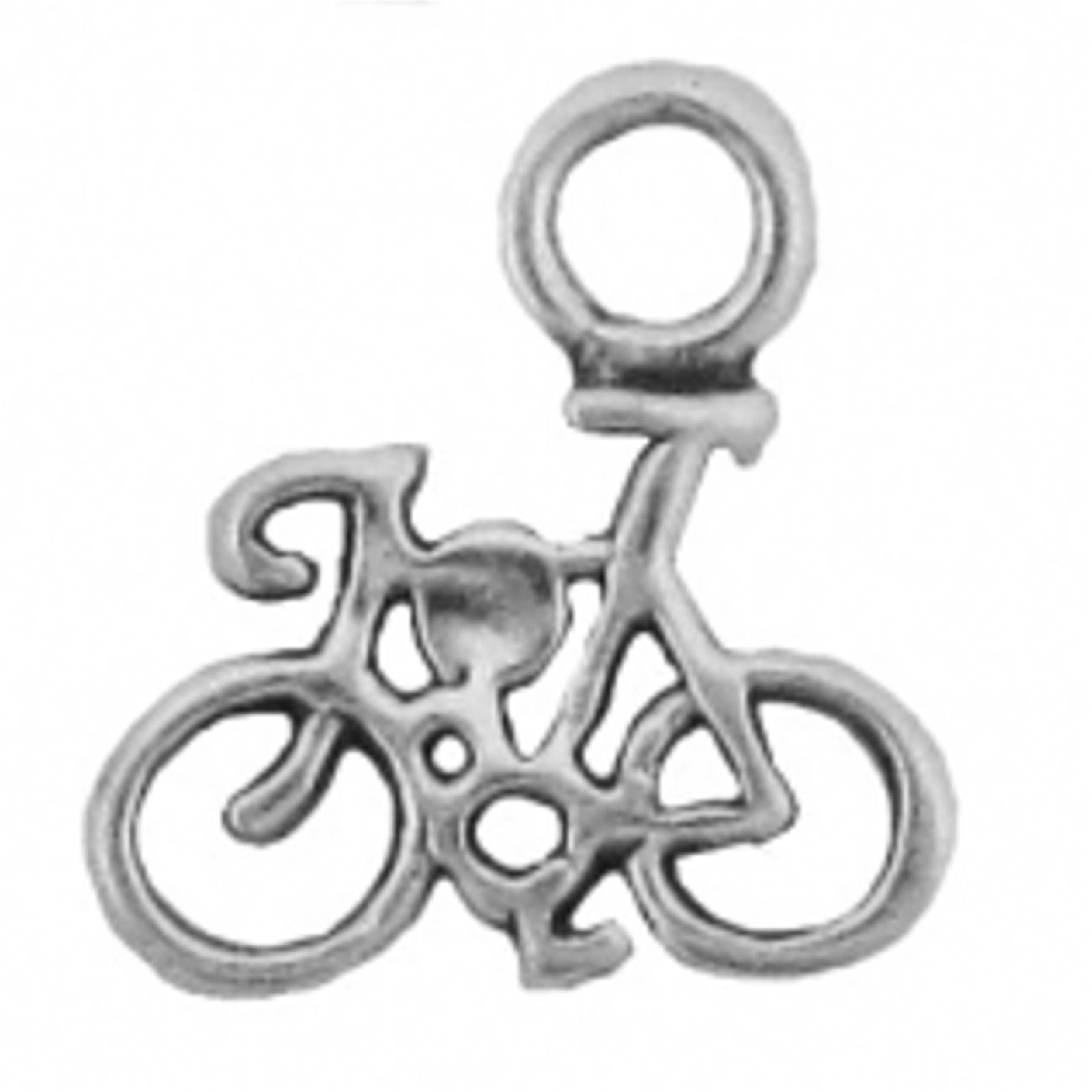 Sterling Silver Womens 1mm Box Chain 3D Mini Bicycle Pendant Necklace