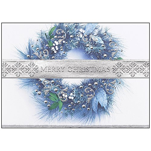 Band of Silver Personalized Christmas Cards - Canopy Street - 25 Folded Cards with Silver, Deckle-Edge Envelopes (0214) (Business Christmas For Cards Personalized)