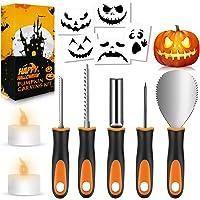 FATHABY Halloween pumpa snideri set, premium rostfritt stål, halloweendekoration, stenciler, 2 LED-ljus, 13-delar…