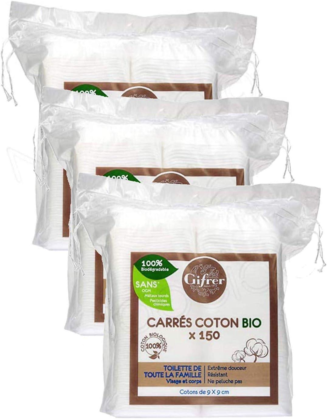 Lot de 3 x 150 Unit/és Gifrer Carr/és de Coton Bio 9 x 9cm 150 unit/és