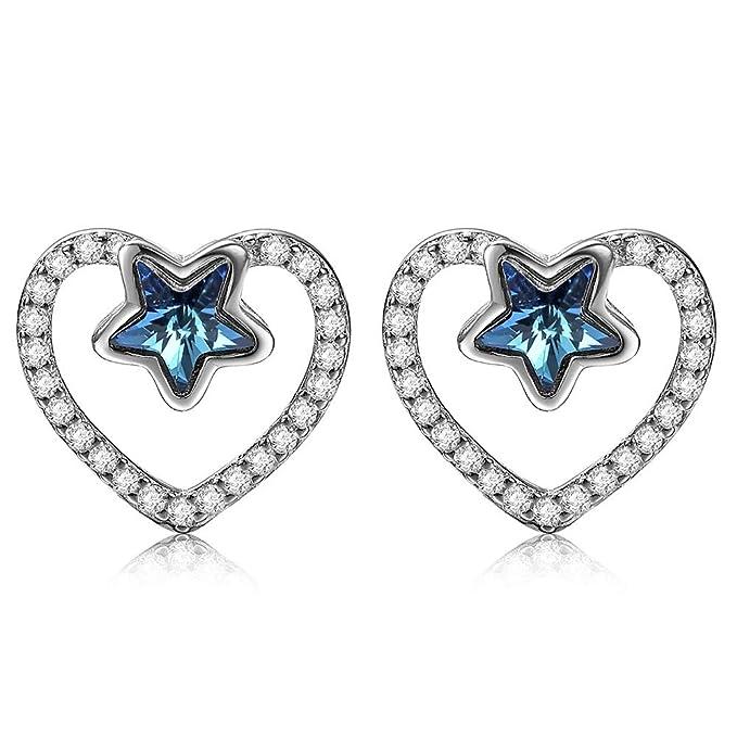 DIVADIS Pendientes Mujer Plata de Ley 925 con Cristales Swarovski   Hipoalergénicos para Uso Diario   Preciosas Joyas Brillantes para Chicas   Regalo Ideal para Cualquier Ocasión