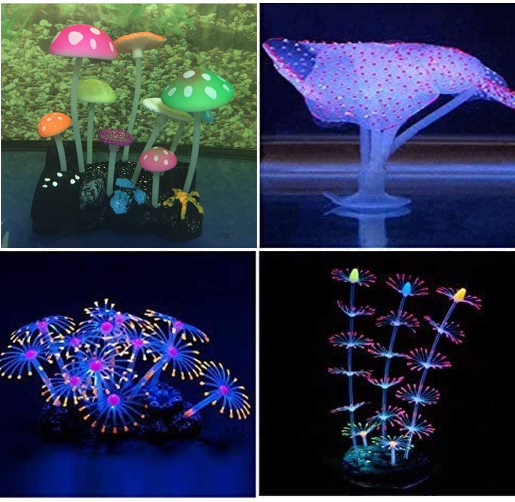 Yuxier Aquarium Decorations Coral Reef Glowing Mushroom Coral Plant Ornaments Glowing Effect Silicone for Fish Tank Decor(4 Pieces)