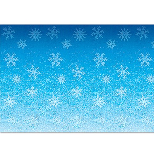 (Beistle 20207 Snowflakes Backdrop, 4' x 30', Blue/White)