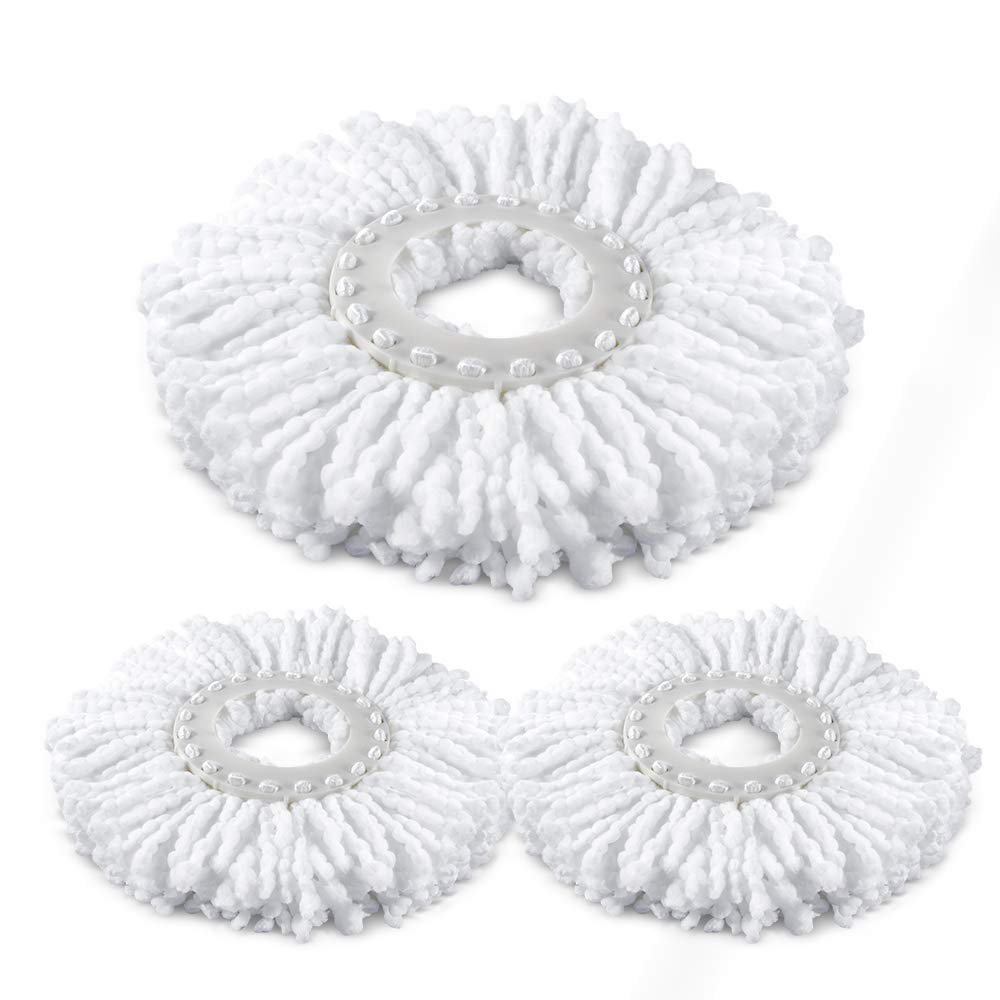 3 Pieces Microfiber Mop Heads Refills For 360° Spin Magic Mop Round Shape Standard Size Mop pads Only for Our Brand