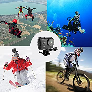 Hiearcool H9 Action Camera 4k Ultra Hd 12mp Wifi Sport Cam Waterproof Underwater 30m, Dual 2inch Lcd Display, 170° Wide Angle Lens - 25 Accessories Kits 6
