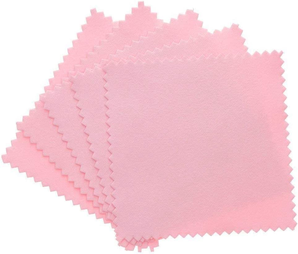 WopenJucy 50 Pack Jewelry Cleaning Cloth,Jewelry Polishing Cloth For Sterling Silver Gold Platinum Pink