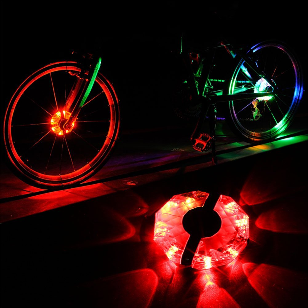 ShiningLove LED Bicycle Wheel Hubs Lights, USB Rechargeable 4 Colors Bike Front/Tail Spoke Wheel Warning Cycling Lights Waterproof Bike Accessories by ShiningLove (Image #8)