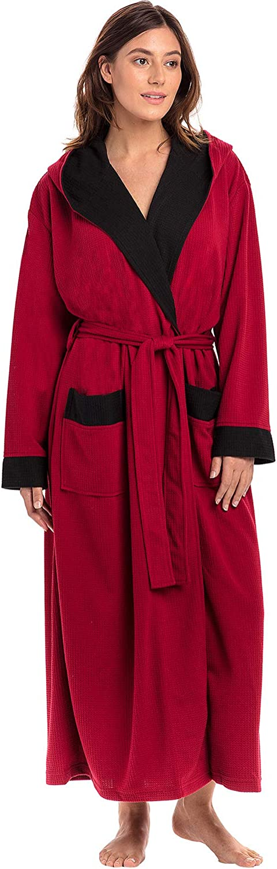 Alexander Del Rossa Womens Ultra Soft Waffle Robe with Hood Long Kimono Bathrobe