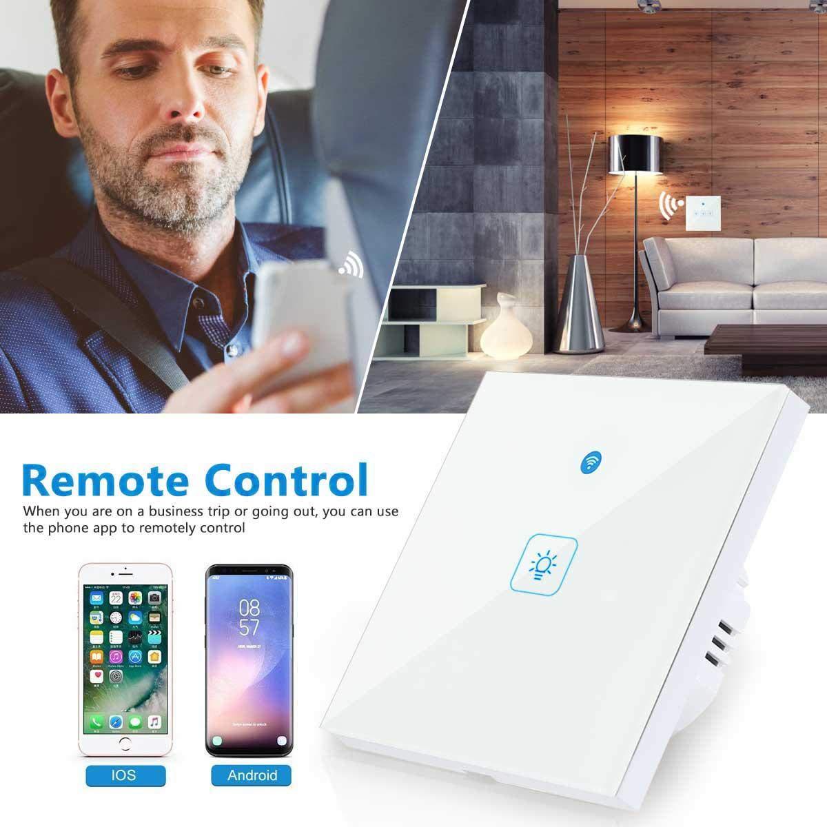 iOS//Android APP Control Remoto Funci/ón de Temporizaci/ón 1 Gang leegoal Interruptores T/áctil Pared de Luz Inal/ámbrico Inteligente Compatible con Alexa//Google Home//IFTTT Interruptor Wifi Alexa