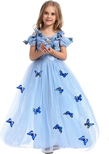 Princess Cinderella Dress up Cosplay Halloween Party Costume for Girls Kids Baby