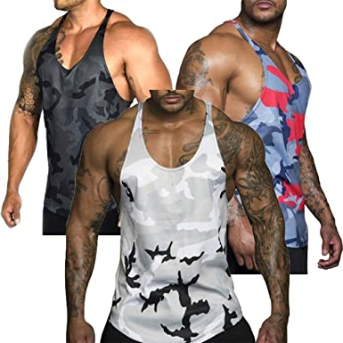 Chaleco musculoso para Hombres Chaleco sin Mangas con Camuflaje Floral Camisa sin Mangas Deportiva Camiseta Deportiva Sin Mangas Ejercicio físico ...