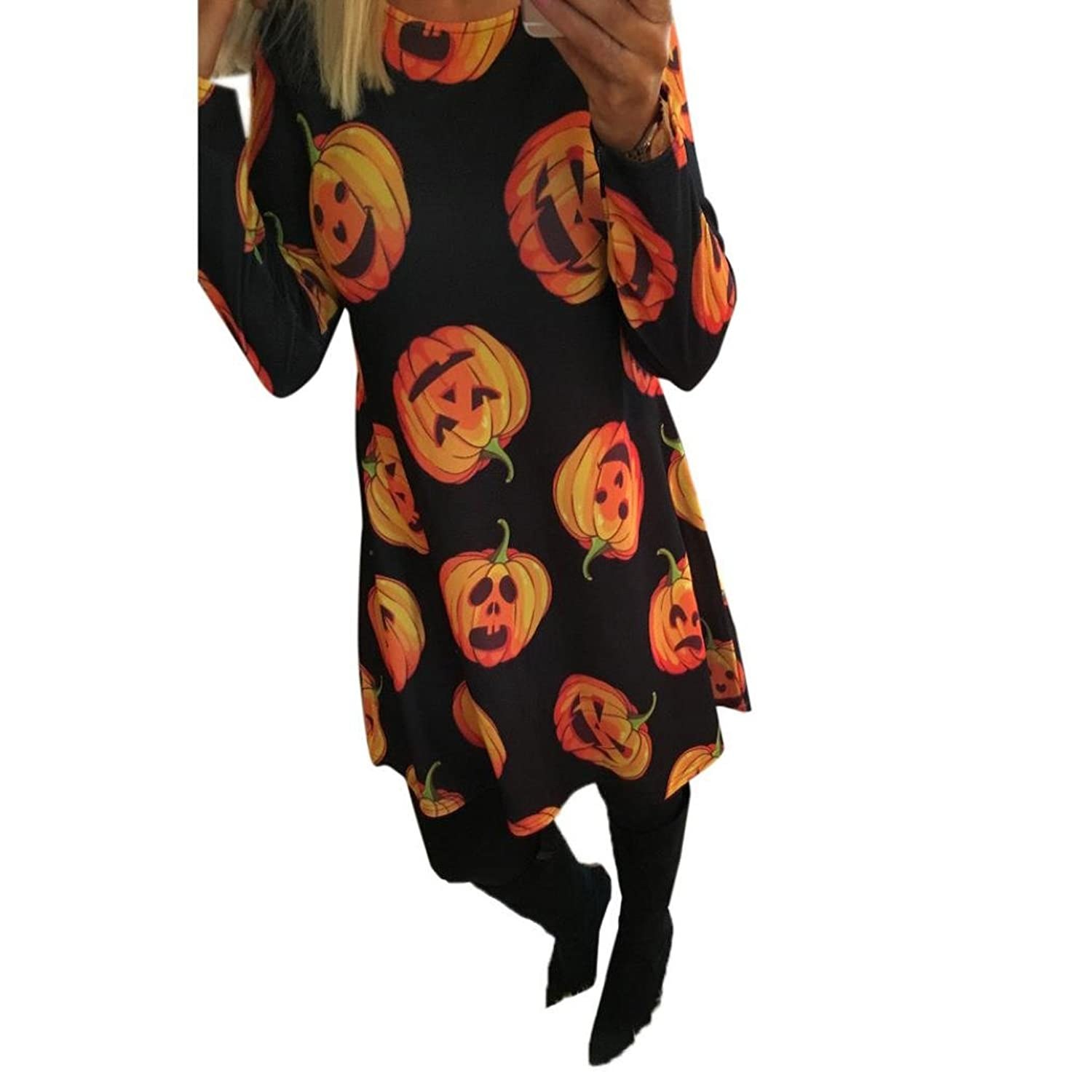 Women Halloween Pumpkin Print Long Sleeve Party Swing Mini Dress