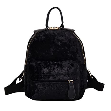 2662b81481 asiproper Women Soft Velvet Zipper Pure Color Backpack for Teenager Girls  Small Travel Backpacks School Bags  Amazon.in  Bags