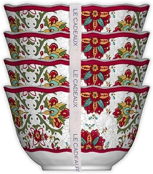 Le Cadeaux 098ALGR Set of 4 Desert Bowls Allegra Red 5 inches,