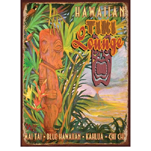 Tiki Lounge Metal Sign: Surfing and Tropical Decor Wall (Tiki 16