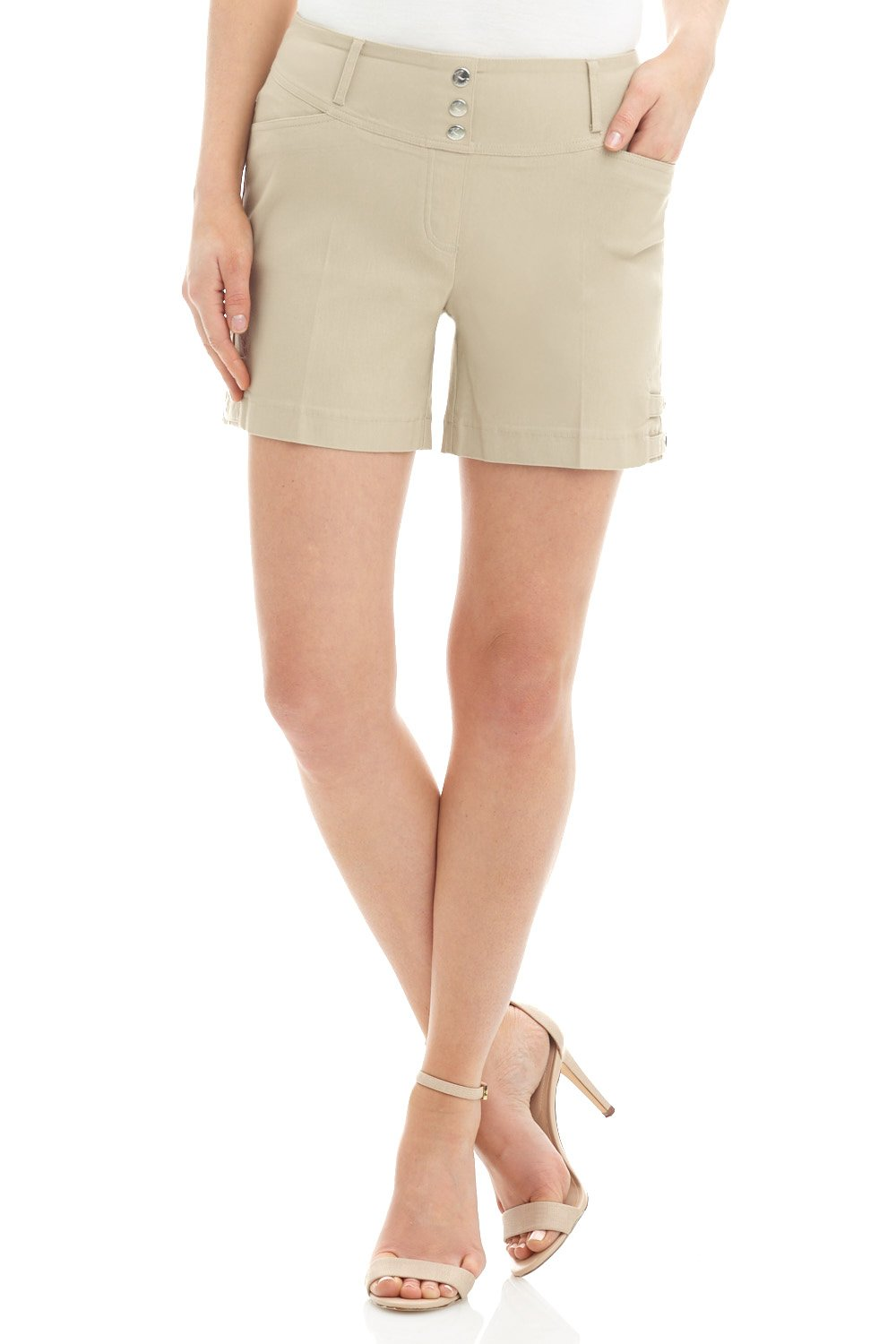 Rekucci Women's Ease Into Comfort Stretchable Pull-On 5'' Slimming Tab Short (12,Stone)