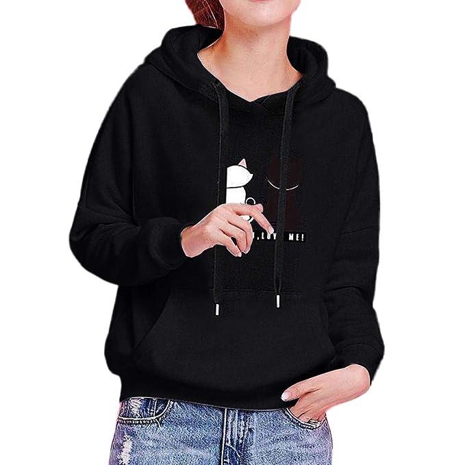 a3071e3f79d Sudaderas Mujer Tumblr - Otoño e Invierno Camiseta de Manga Larga Bordado  de Gato Estampado para Adolescentes Chicas Niña  Amazon.es  Ropa y  accesorios