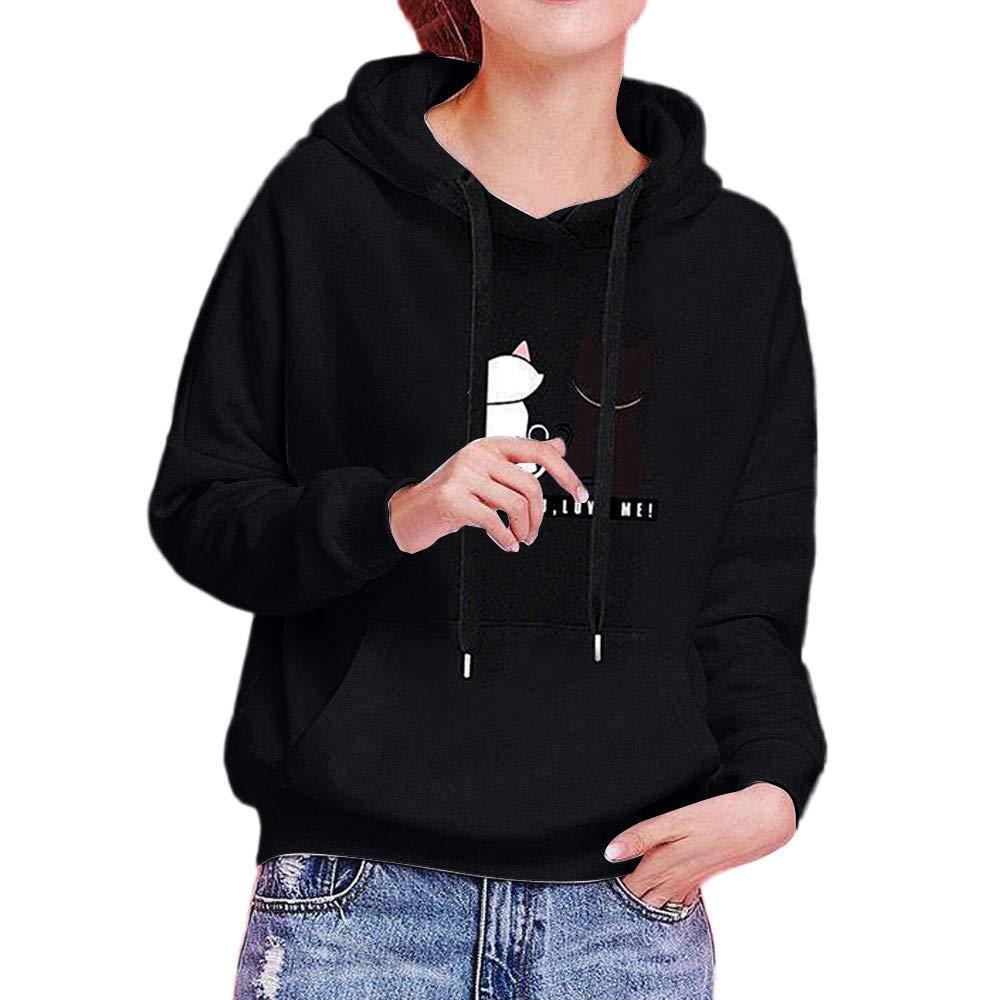 AKwell Womens Fashion Cat Print Long Sleeve Hoodie Sweatshirt Casual Hooded Fashion Winter Autumn Tops with Pocket