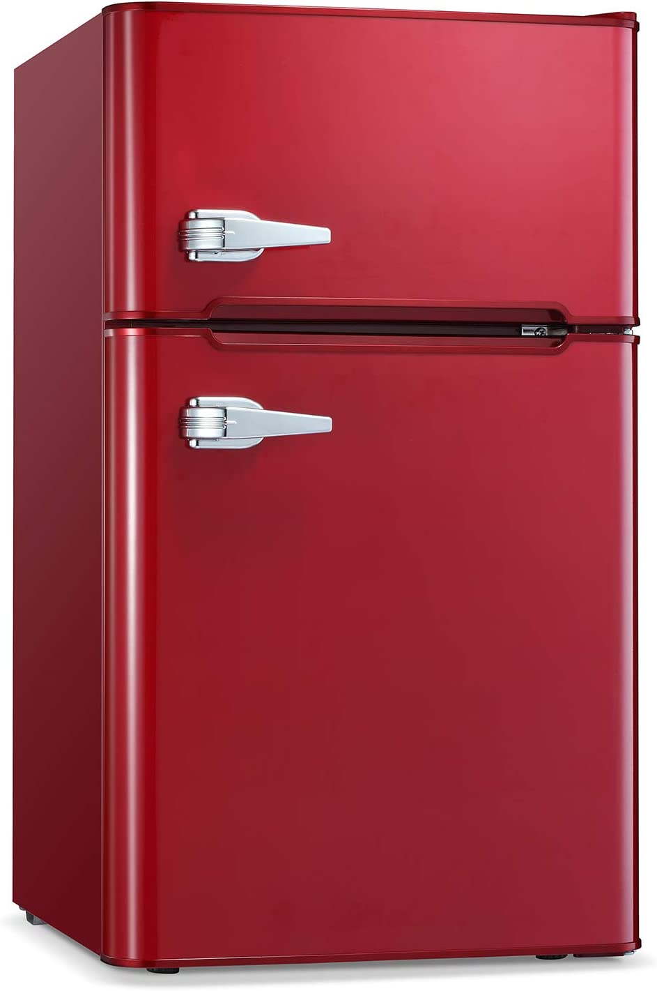 Antarctic Star Compact Mini Refrigerator Separate Freezer, Small Fridge Double 2-Door Adjustable Removable Retro Stainless Steel Shelves Garage Camper Basement/Dorm/Office 3.2 cu ft. Red