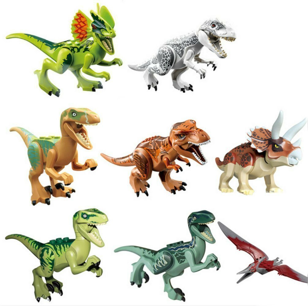 Amazon Oliadesign 8 PCS Set 3 Dinosaur Minifigures Building Blocks ABS Toys Games