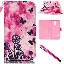 Galaxy S5 mini Case, Firefish Kickstand Card Slots Cash Holder Dual Layer Impact Resistant Case Cover with Wrist Strap Magnetic Snap Closure for Samsung Galaxy S5 mini (SM-G800)-Dandelion