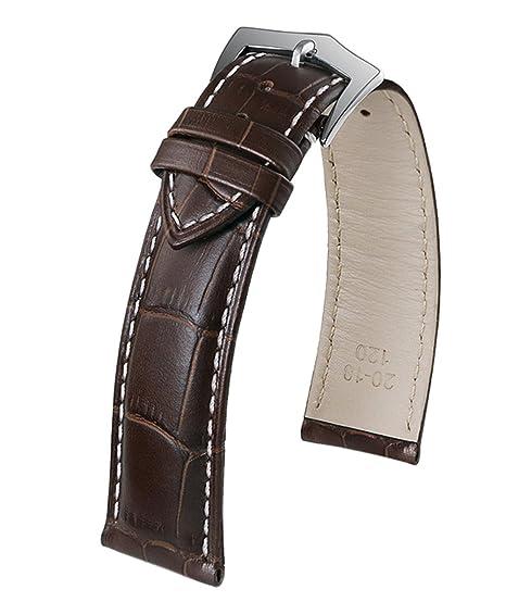 6e9d0fcd2270 Correa de Reloj de Color marrón Oscuro destacada Prima de Piel de Becerro  Italiano Blanco Que Contrasta con Hebilla de Puntada
