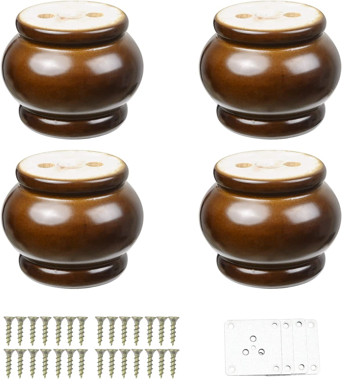 4PCS Round Furniture Bun Feet Walnut Finished 2.56inch Tall Wood Sofa Legs Replacement for Armchair Couch Sofa Cabinet Chair Loveseat Ottoman Dresser Legs
