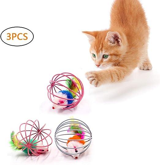 MAOJIE - Juego de 3 Ratones en una Jaula de Juguete para Gatos (Color al Azar): Amazon.es: Productos para mascotas